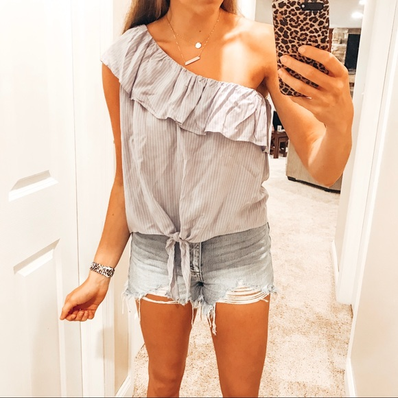 Mossimo Supply Co. Tops - STRIPED ONE SHOULDER TIE FRONT TOP